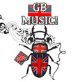 music flayer with beetle colored in british flag vector image vector image