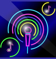 neon microphone with notes vector image