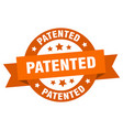 patented ribbon patented round orange sign vector image vector image