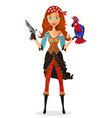 pirate girl with parrot and powder gun vector image vector image