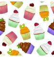 realistic detailed 3d cupcakes seamless pattern vector image