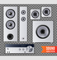 realistic sound audio system transparent icon set vector image