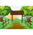 Scene with field and wooden sign vector image vector image