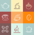 set of coffee logos and icons vector image vector image