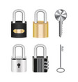 set real steel master lock and key vector image