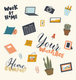 set various things for workplace and home vector image