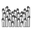 several arms hands gesture set collection on black vector image