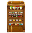 Shelves full of canned food vector image vector image