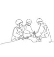 single continuous line drawing group vector image