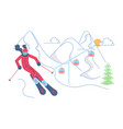 skier on winter mountain landscape vector image vector image