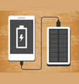 solar power bank charging a smartphone on wooden vector image vector image