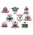 Sports games emblems icons and symbols vector image vector image