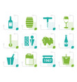 stylized wine and drink icons vector image vector image