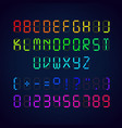 template colorful digital glowing font vector image