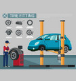 tire fitting blue repair shop wheel replacement vector image