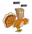 turkey bird hiding under a bag barks vector image vector image