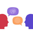 two human heads silhouette talking through speech vector image vector image