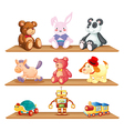 Wooden shelves with different toys vector image vector image