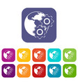 world planet and gears icons set flat vector image