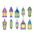 ramadan old lamps and lanterns set of arabic style vector image