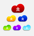 Set of six colorful upload cloud icons vector image