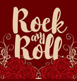 banner with words rock and roll and roses vector image