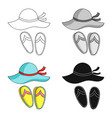 beach hat with flip-flops icon in cartoon style vector image vector image
