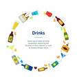 cartoon alcoholic beverages banner card circle vector image vector image