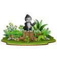 cartoon happy baby gorilla sitting and waving on t vector image vector image