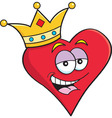 Cartoon heart wearing a crown vector image vector image