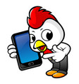 cartoon rooster character the guides and holding vector image