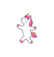cartoon unicorn character isolated vector image vector image