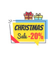 christmas sale promo label with discount 20 icon vector image