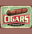 cigars store retro sign design template vector image