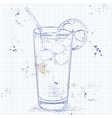 Cocktail Long Island Iced Tea on a notebook page vector image vector image