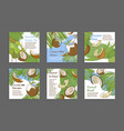 collection engraved coconut milk post vector image