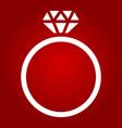 diamond ring glyph icon valentines day vector image vector image
