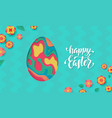 easter egg colored paper cut in jump happy vector image vector image