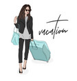fashion of woman with luggage sketch vector image