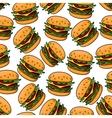 Fast food cheeseburgers seamless pattern vector image vector image