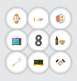 flat icon oneday set of beer with chips lunch vector image vector image