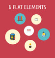 flat icons calculate whiteboard identification vector image vector image