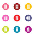 french door icons set flat style vector image vector image