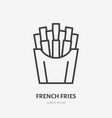 french fries flat line icon thin sign of vector image vector image