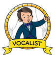 funny singer or vocalist vector image vector image