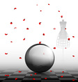 glass ball and red petals vector image