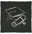Graduation cap and diploma on old background vector image