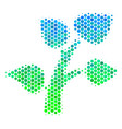 halftone blue-green plant tree icon vector image