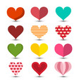 hearts set love symbol colorul retro romance vector image vector image