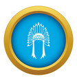 indian headdress icon blue isolated vector image vector image